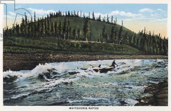 ALASKA: WHITE HORSE RAPIDS The White Horse rapids on the Yukon River in Alaska. Postcard, American, c.1938.