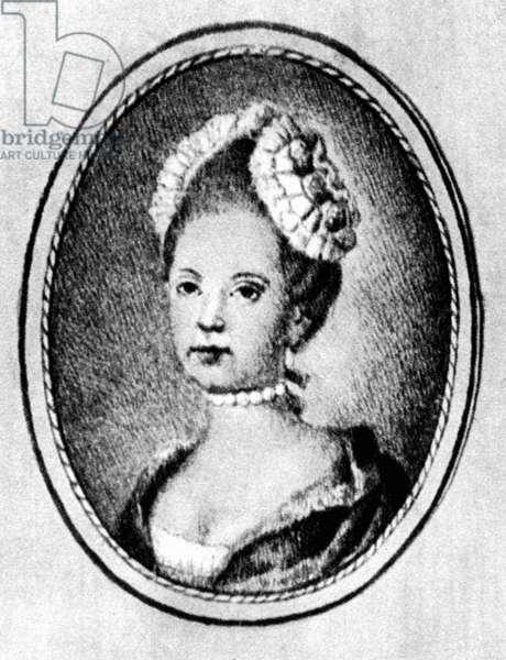 CONSTANZE WEBER MOZART (1763-1842). German soprano and wife of Austrian composer Wolfgang Amadeus Mozart. Minature, c.1780.