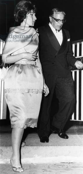 CALLAS & ONASSIS, 1960 Greek opera singer Maria Callas and Greek shipping magnate Aristotle Onassis arrive at a ball in Naples, Italy, 1960.