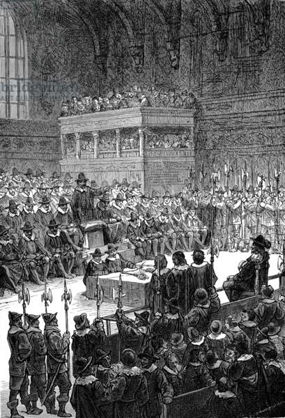 CHARLES I (1600-1649) King of Great Britain and Ireland, 1625-1649. The king on trial before a specially constituted high court of justice in Westminster hall, January 1649. Line engraving, 19th century.