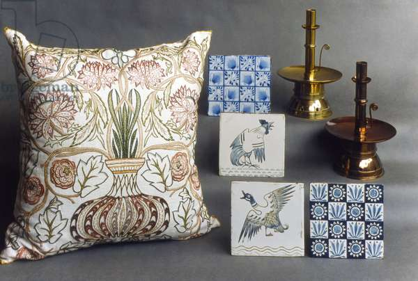 MORRIS: DESIGNS Candleholders, tiles and embroidery designed by William Morris, late 19th century.