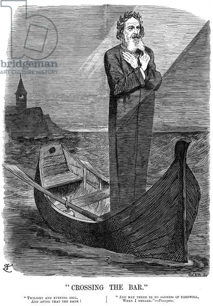 ALFRED TENNYSON (1809-1892) 1st Baron Tennyson. English poet. Cartoon eulogy by John Tenniel on the occasion of Tennyson's death in 1892.