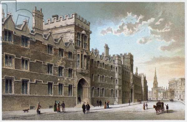 OXFORD: UNIVERSITY COLLEGE Lithograph, c.1885.
