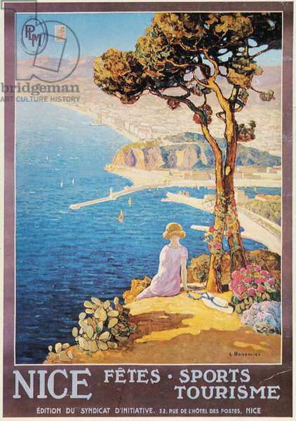 NICE, FRANCE, c.1920 French tourism poster promoting the resort city of Nice on the Riviera, c.1920.