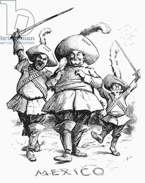 BRYAN CARTOON, c.1914 U.S. Secretary of State William Jennings Bryan depicted as one of the Three Musketeers, together with Mexican revolutionary leaders Francisco 'Pancho' Villa (left) and Venustiano Carranza. American cartoon, c.1914.