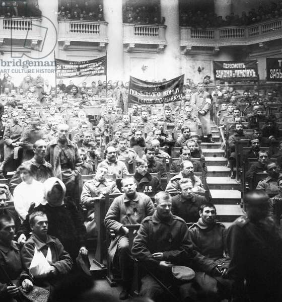 RUSSIAN REVOLUTION, 1917 Meeting of the soldiers' section of the Petrograd Soviet in the State Duma, 1917.