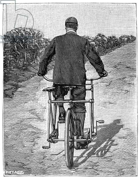 TANDEM BICYCLE, 1896 Rear view of the French sociable tandem. Wood engraaving, French, 1896.