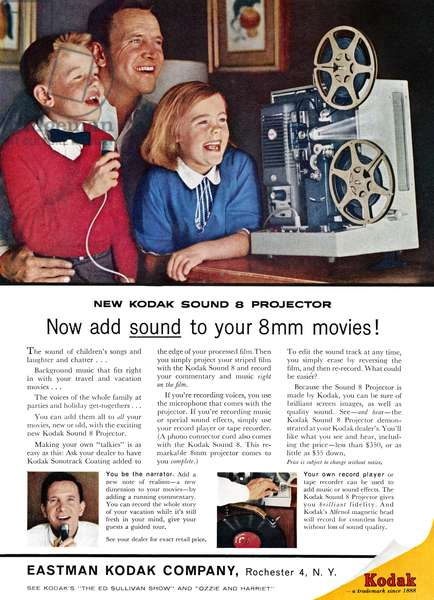 AD: KODAK PROJECTOR, 1961 American advertisement for the Kodak Sound 8 Projector, 1961.