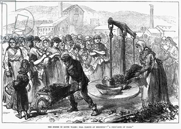 "COAL MINERS' STRIKE, 1873 'The Strike in South Wales: Coal Famine at Merthyr - ""A Penn'orth of Coals.""' Rationing of coal during the miners' strike in South Wales, 1873. Contemporary English engraving."