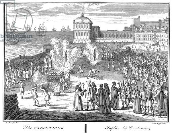 SPANISH INQUISITION The executions following an auto-da-fé of the Spanish Inquisition: copper engraving, French, early 18th century.