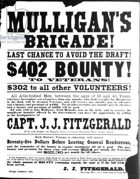 CIVIL WAR: BROADSIDE, 1863. Civil war Union Army recrutiment poster, 1863.