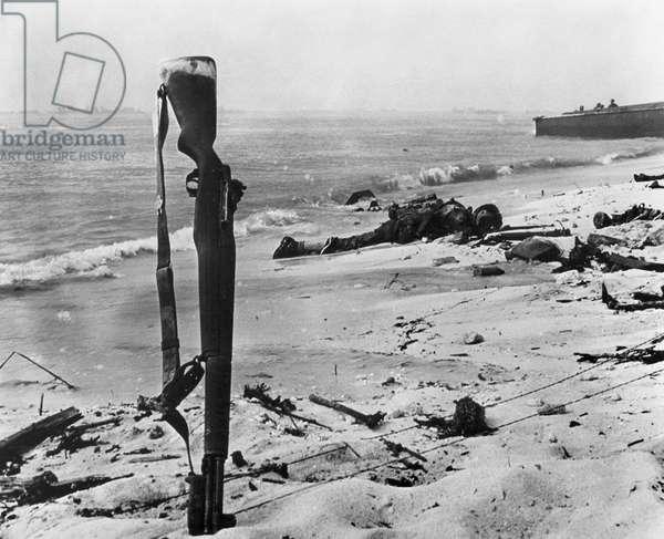 WORLD WAR II: ENEWETAK U.S. Marines lie dead on the beach at Enewetak (Parry Island), an atoll in the Marshall Islands, February 1944.