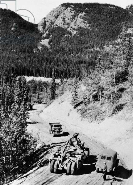 CANADA: ALASKA HIGHWAY The construction of the Alaska Highway, under the direction of the U.S. Army, in northern British Columbia and the Yukon Territory in western Canada, c.1942.