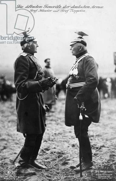 FERDINAND von ZEPPELIN (1838-1917). Count Ferdinand von Zeppelin. German soldier and aeronaut. Photographed c.1914, with Count Gottlieb von Haeseler (left).