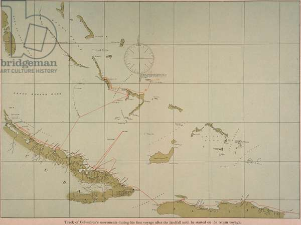 COLUMBUS: MAP, 1492 Track of Christopher Columbus' movements during his first voyage, 1492, after the landfall until he started on the return voyage. Map, 1903, prepared with data from the original log.