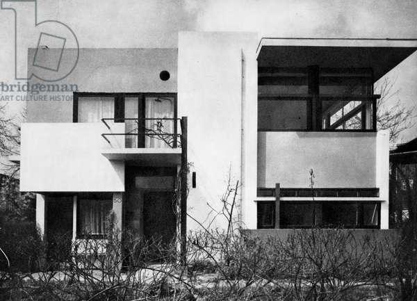 RIETVELD: SCHROEDER HOUSE The Schroeder House at Utrecht, Holland, designed, 1924, by Gerrit Rieveld.