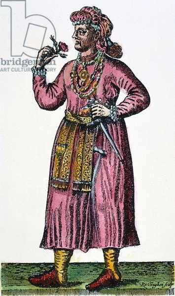 AURANGZEB (1618-1707) Mughal emperor of India, 1658-1707. Contemporary English line engraving.