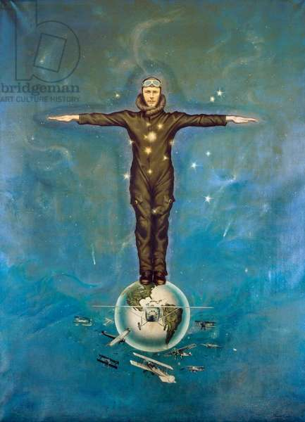 CHARLES LINDBERGH  (1902-1974). American aviator. 'Lindbergh Atop the World.' Oil painting by Theodore LaBonte, 1928.