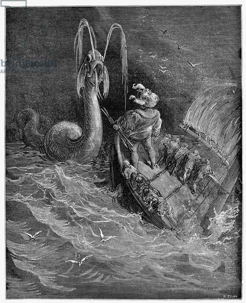 RABELAIS: PANTAGRUEL Pantagruel about to attack the sea monster with javelins (IV, 34). Wood engraving after Gustave Doré from an 1873 edition of François Rabelais' 'Gargantua and Pantagruel.'