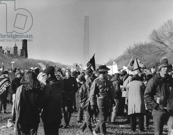 ANTI-WAR PROTEST, 1969 Protesters carry signs and flags on the Mall in Washington, D.C., on 15 November 1969 to demonstrate against the war in Vietnam.