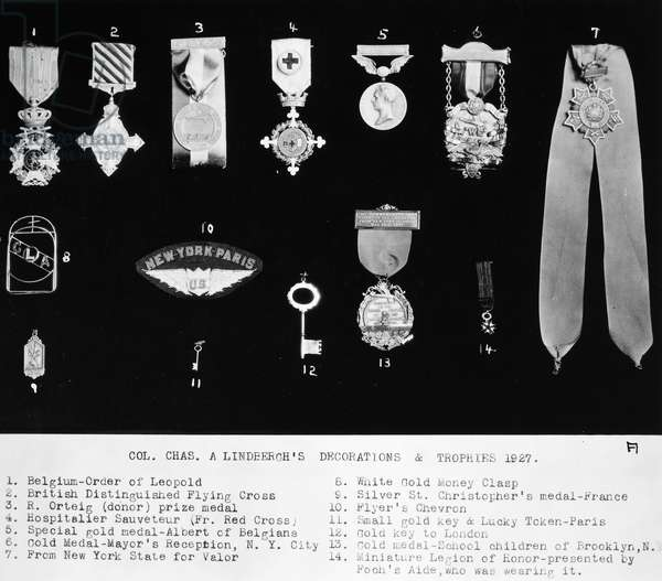 CHARLES A. LINDBERGH (1902-1974). American aviator. Lindbergh's decorations and trophies, 1927.