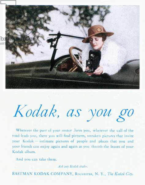 KODAK ADVERTISEMENT, 1917 'Kodak, as you go.' Advertisement for a Kodak hand-held camera, from an American magazine, 1917.