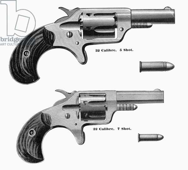 REVOLVERS, 19th CENTURY 5-shot and 7-shot revolvers. Line engraving, American, 1870s or 1880s.