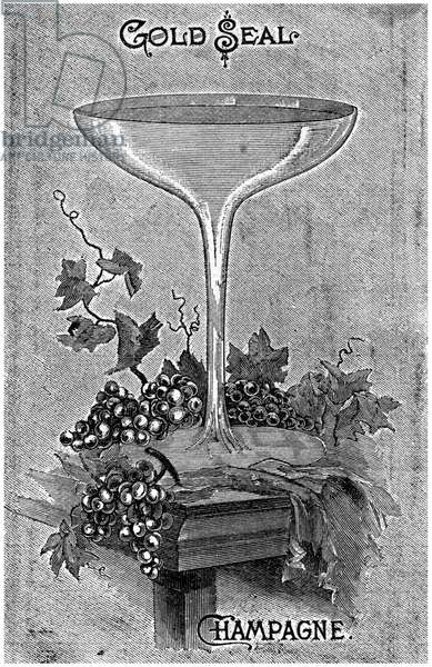 AD: CHAMPAGNE, 1892 American magazine advertisement for Gold Seal champagne, 1892.