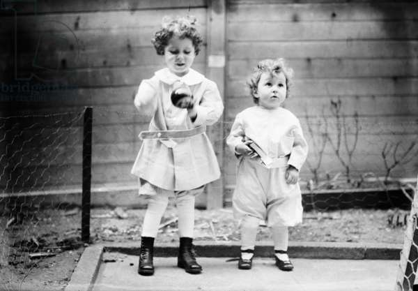 TITANIC: SURVIVORS, 1912 Two French brothers, Michel (age 4) and Edmond Navratil (age 2), who survived the sinking of the RMS 'Titanic;' their father died in the disaster, and at the time of this photograph they had yet to be returned to their mother. Photographed April 1912.