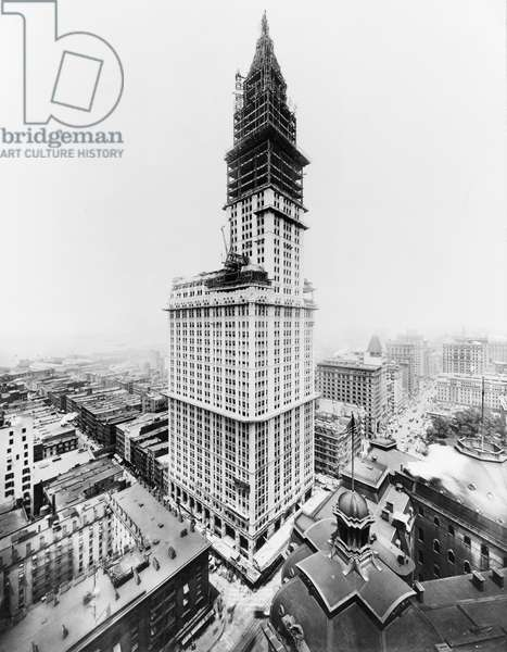 WOOLWORTH BUILDING, 1912 Tower construction for the Woolworth Building on lower Broadway, New York City, which was completed in April 1913. Photograph by Irving Underhill, 1 July 1912.