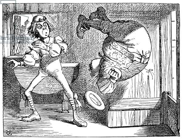 ALICE IN WONDERLAND, 1865. Father William turning a backsomersault. Illustration by Sir John Tenniel from the first edition of Lewis Carroll's 'Alice's Adventures in Wonderland,' 1865.