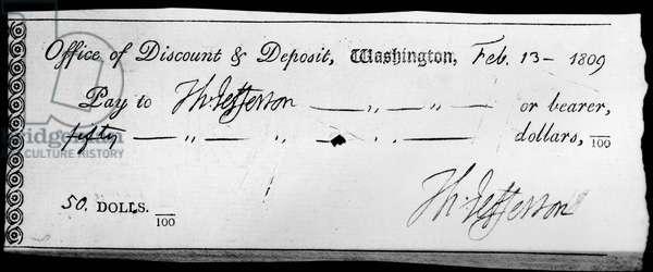 THOMAS JEFFERSON: CHECK Check written by Thomas Jefferson, 13 February 1809.