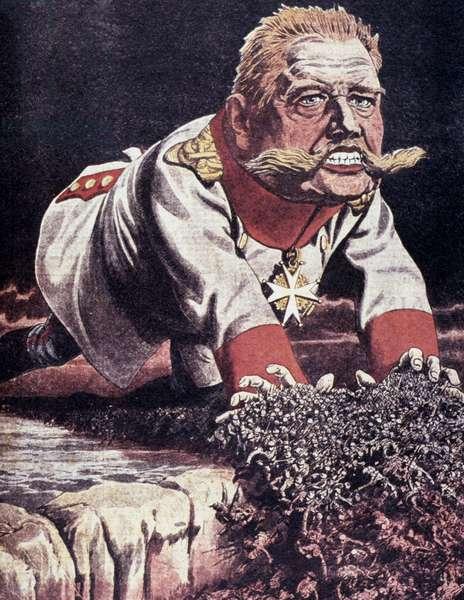 PAUL VON HINDENBURG (1847-1934). German general and politician. 'Hindenburg, the German Moloch.' French World War I poster, April 1915.
