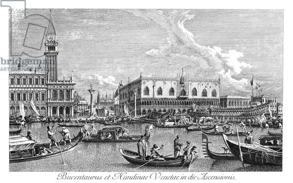 VENICE: BUCINTORO, 1735 The Bucintoro (state barge) returning to the Molo on Ascension Day. On the Pool of St. Mark facing the Molo, in Venice, Italy. Engraving, 1735, by Antonio Visentini after Canaletto.