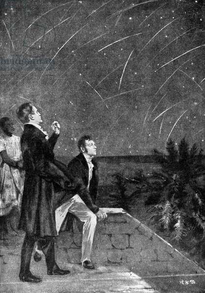 METEOR SHOWERS, 1799. Alexander von Humboldt and Aimé Bonpland observing a meteor shower on the northeastern coast of South America in 1799. Illustration, late 19th century.