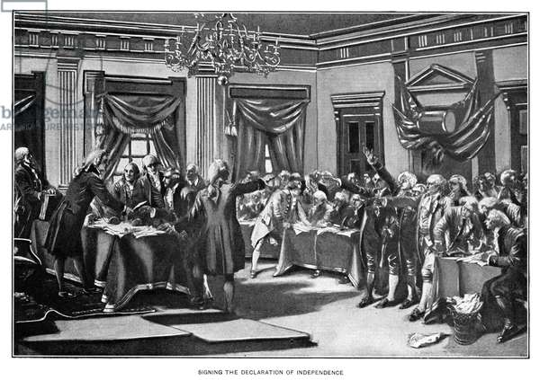 DECLARATION OF INDEPENDENCE The signing of the Declaration of Independence in Congress, July 1776. Engraving, c.1890.
