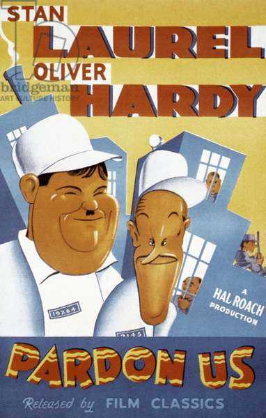 LAUREL & HARDY: PARDON US American poster for 1931 movie, starring Stan Laurel and Oliver Hardy.