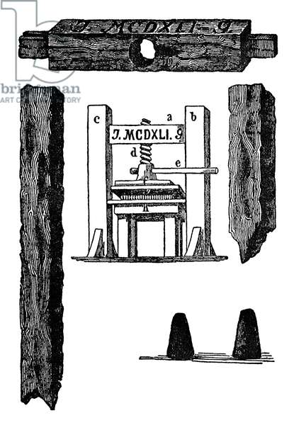 GUTENBERG PRINTING PRESS Excavated fragments of the Gutenberg Press and a reconstruction based upon contemporary descriptions. A horizontal movement brought the type-form under the pressboard and the turning of the central screw brought the necessary pressure upon the form.