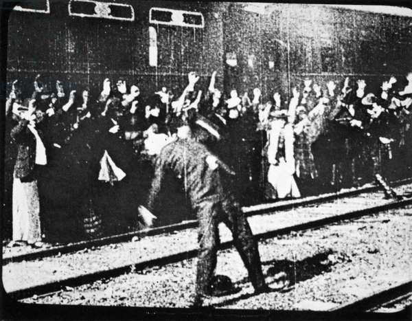 EDISON: MOVIE STILL, 1903 Scene from the film 'The Great Train Robbery' made by the Edison Company in 1903.