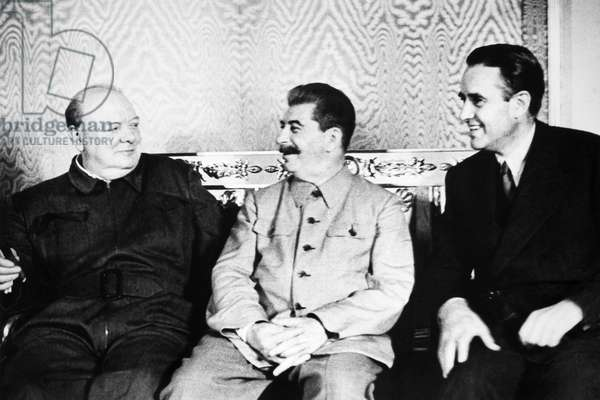 CHURCHILL & STALIN, 1942 Left-to-right: English Prime Minister Winston Churchill, Russian Dictator Joseph Stalin and American diplomat W. Averell Harriman, representing President Franklin D. Roosevelt, photographed at a meeting in Moscow, Russia, August 1942, convened to discuss the future conduct of the war.