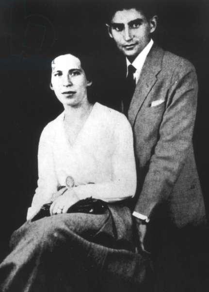 FRANZ KAFKA W/ FIANCE Kafka with his first fiance, Felice Bauer. Budapest, July 1917.