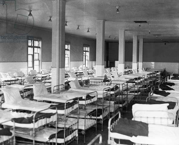 ELLIS ISLAND: DORMITORY Bunk beds in a dormitory at the immigartion station in New York Harbor, 1931.
