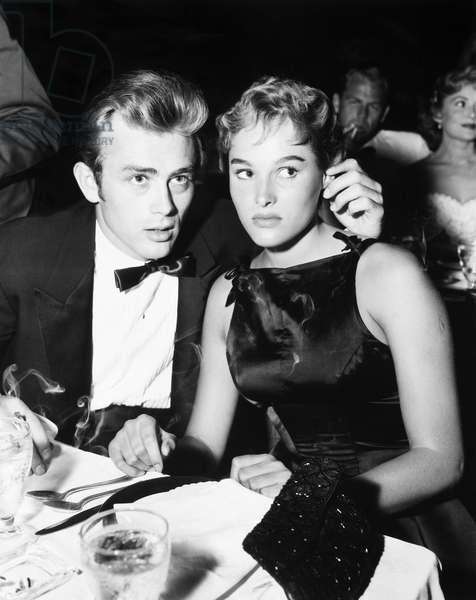 DEAN & ANDRESS, 1955 American actor James Dean with Swiss actress Ursula Andress, 9 September 1955.