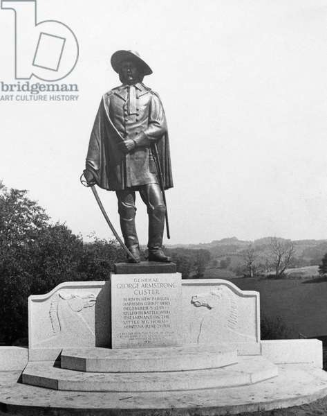 GEORGE ARMSTRONG CUSTER (1839-1876) American army officer. General Custer Statue Memorial in Custer's birthplace, New Rumley, Ohio. Photograph, c.1940.