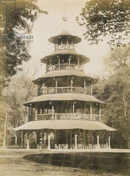 MUNICH: ENGLISH GARDEN. The Chinese Tower (Chinesischer Turm) in the Englischer Garten in Munich, Germany. Photograph, c.1900.