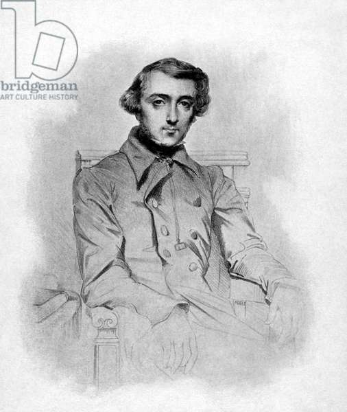 ALEXIS de TOCQUEVILLE (1805-1859). French historian, sociologist, political theorist, and statesman. Lithograph, 1848, by Theodore Chasseriau.