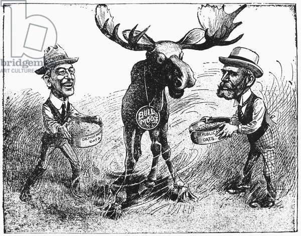 PRESIDENTIAL CAMPAIGN, 1916 American cartoon on the presidential campaign of 1916, showing Democratic candidate Woodrow Wilson and Republican candidate Charles Evans Hughes each trying to win the support of Theodore Roosevelt's Progressive ('Bull Moose') Party.