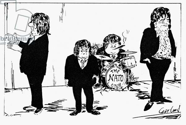 NATO LEADERS, 1966 'Beatles may not appear as a group again.' English cartoon, 1966, commenting on France's decision to withdraw from NATO's integrated command structure. Left to right: French President Charles de Gaulle, British Prime Minister Harold Wilson, West German Chancellor Ludwig Erhard, and U.S. President Lyndon Johnson as the 'NATO Four.'