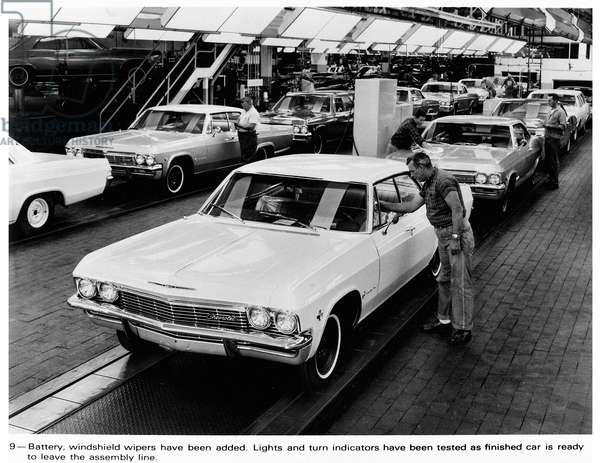 AUTOMOBILE ASSEMBLY LINE A Chevrolet assembly line in the early 1960s.