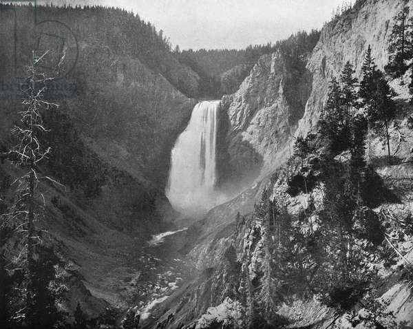 LOWER YELLOWSTONE FALLS The Lower Yellowstone Falls in Yellowstone National Park. Photograph, c.1880.